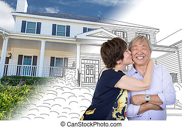 Chinese Senior Adult Couple Kissing In Front Of Custom House Drawing and Photo Transition.