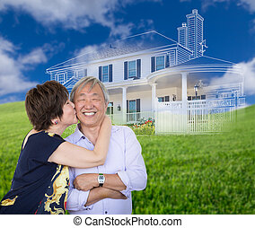 Chinese Senior Adult Couple Kissing In Front Of Ghosted Custom House Drawing and Photo Transition.