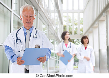 chinese senior male doctor in hospital