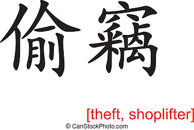 Chinese Sign for theft, shoplifter