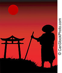 Chinese silhouette in the night.