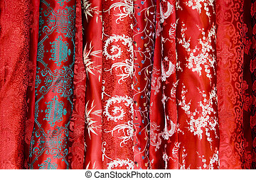 Chinese red silk in a market