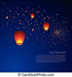 Chinese sky lanterns in a dark night background