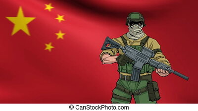 Chinese Soldier Background Animation - Looping animation of...