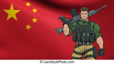 Chinese Soldier Background Animation