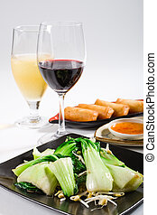 chinese spinach and wine