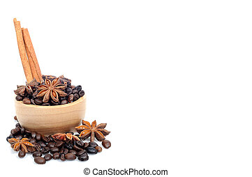 Chinese star aniseed Cinnamon and Coffee seeds on white background