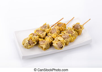 Chinese Steamed Dumpling on white background.