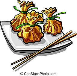 illustration of chinese traditional steamed dumplings on plate