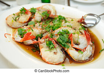 Chinese steamed shrimp - Chinese cuisine - Steamed shrimp...
