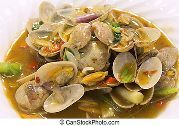 Chinese Stir Fry with Clams Closeup 2