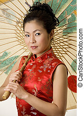 Chinese - Beautiful Chinese woman in traditional Chinese...