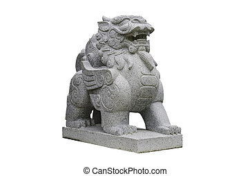 Chinese Stone Lion isolated on white with clipping path