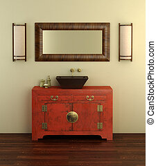 Chinese style bathroom interior - 3d rendering of the...