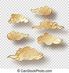 Chinese Style Clouds - Set of gold clouds with a shadow in...