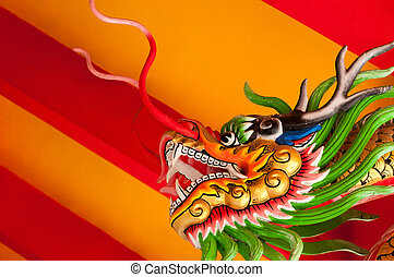 Chinese style dragon head with bright red and yellow...