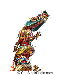 Chinese style dragon statue isolate on white background (from temple in Thailand)
