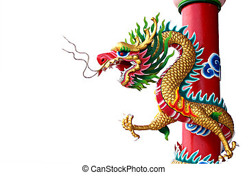 Chinese style of Golden dragon statue.