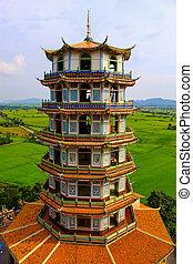 Chinese-style pagoda. at temple in Kanchanaburi, Thailand.