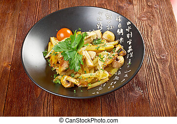 potato and mushroom stir fried