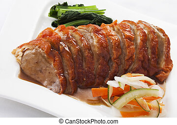 Chinese style roasted duck with sauce