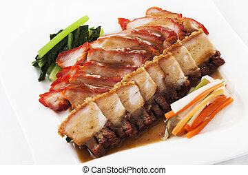 Chinese style roasted pork on background