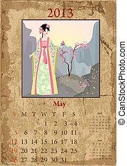 chinese-style, vendange, calendrier, mai, 2013