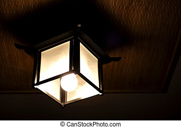 Chinese style wooden lamp on the ceiling