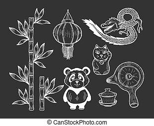 Chinese symbol icons on black background.