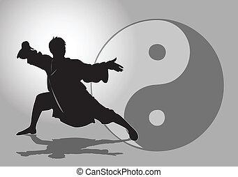 Chinese Tai-Chi. - A Tai Chi Master in silhouette.