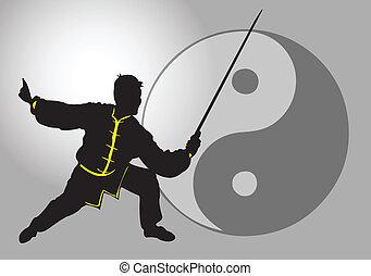 Chinese Tai-Chi. - A Tai Chi master with sword.