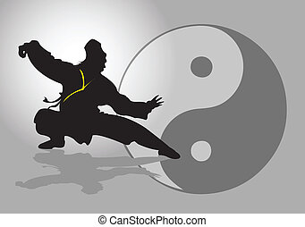 Chinese Tai-Chi. - A Tai Chi Master in silhouette.