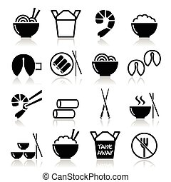 Vector icons set of food from China isolated on white