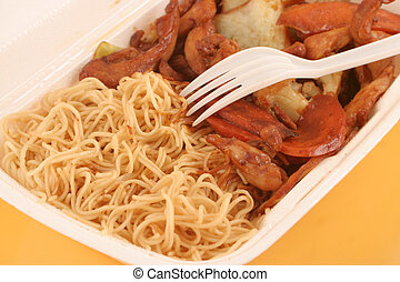 chinese takeout - styrofoam take-out container with Chinese ...