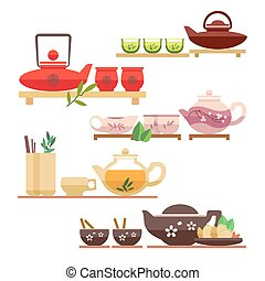 Chinese tea ceremony flat vector icons