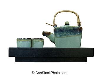 chinese tea pot isolated white background