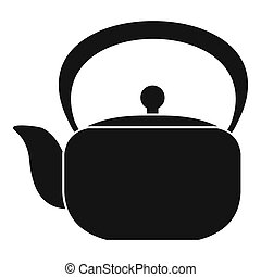 Chinese teapot icon, simple style