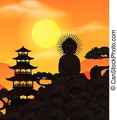 Chinese template with Buddha figure at sunset