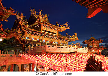 Chinese Temple at Dusk - Image of a Chinese temple in...