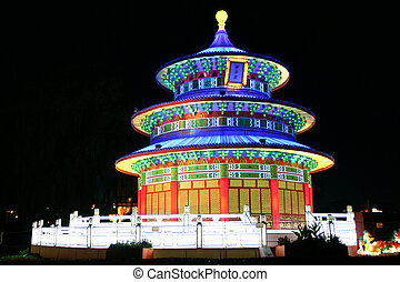 Chinese temple - chinese temple during lantern festival...