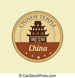 chinese temple design over brown background vector...