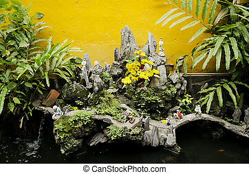 chinese temple garden detail in vietnam
