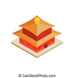 Chinese temple icon, isometric 3d style