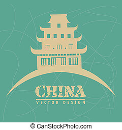 chinese temple over blue background vector illustration