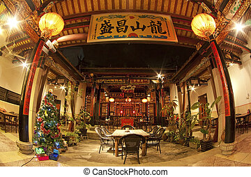 Chinese temple in China, Xiamen. It is the interior of the...