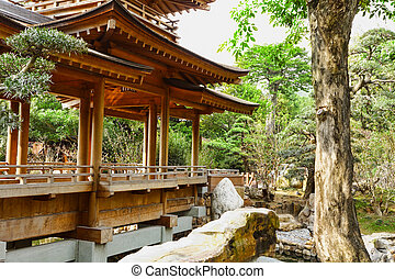 chinese temple - Red temple and Red maple trees