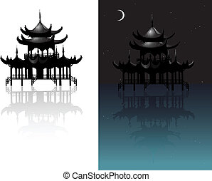 Variations with Chinese ancient temple model