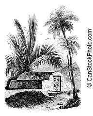 Chinese tomb at Ambon, Maluku Islands, vintage engraving. - ...