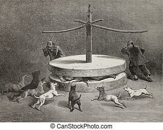 Chinese torture - Antique illustration of a terrifying...