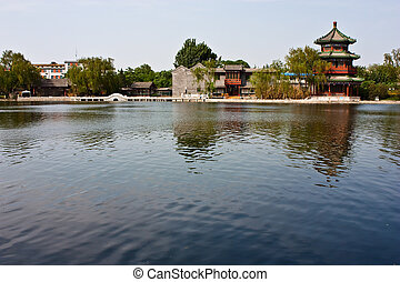 Chinese tower and lake